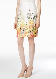 Tahari Asl Floral-Print Poplin Pencil Skirt