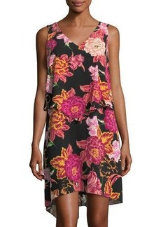 Tahari ASL Floral-Print Popover Shift Dress