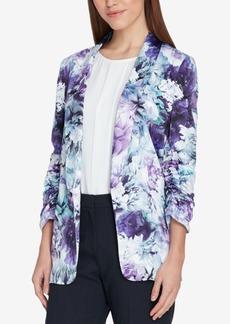 Tahari Asl Floral-Print Ruched-Sleeve Jacket