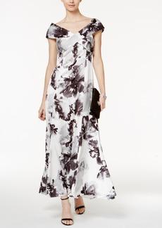 Tahari Asl Floral-Print Satin Crisscross Gown