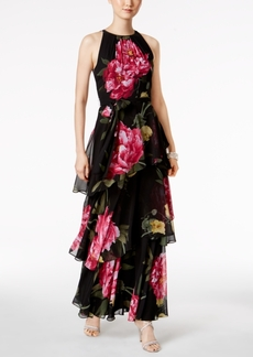 Tahari Asl Floral-Print Tiered Gown