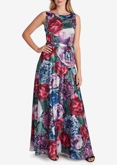 Tahari Asl Floral-Print V-Back Gown