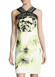 Tahari ASL Floral-Printed Sleeveless Stretch-Twill Dress