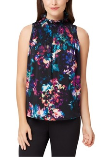 Tahari Asl Floral Smocked Top