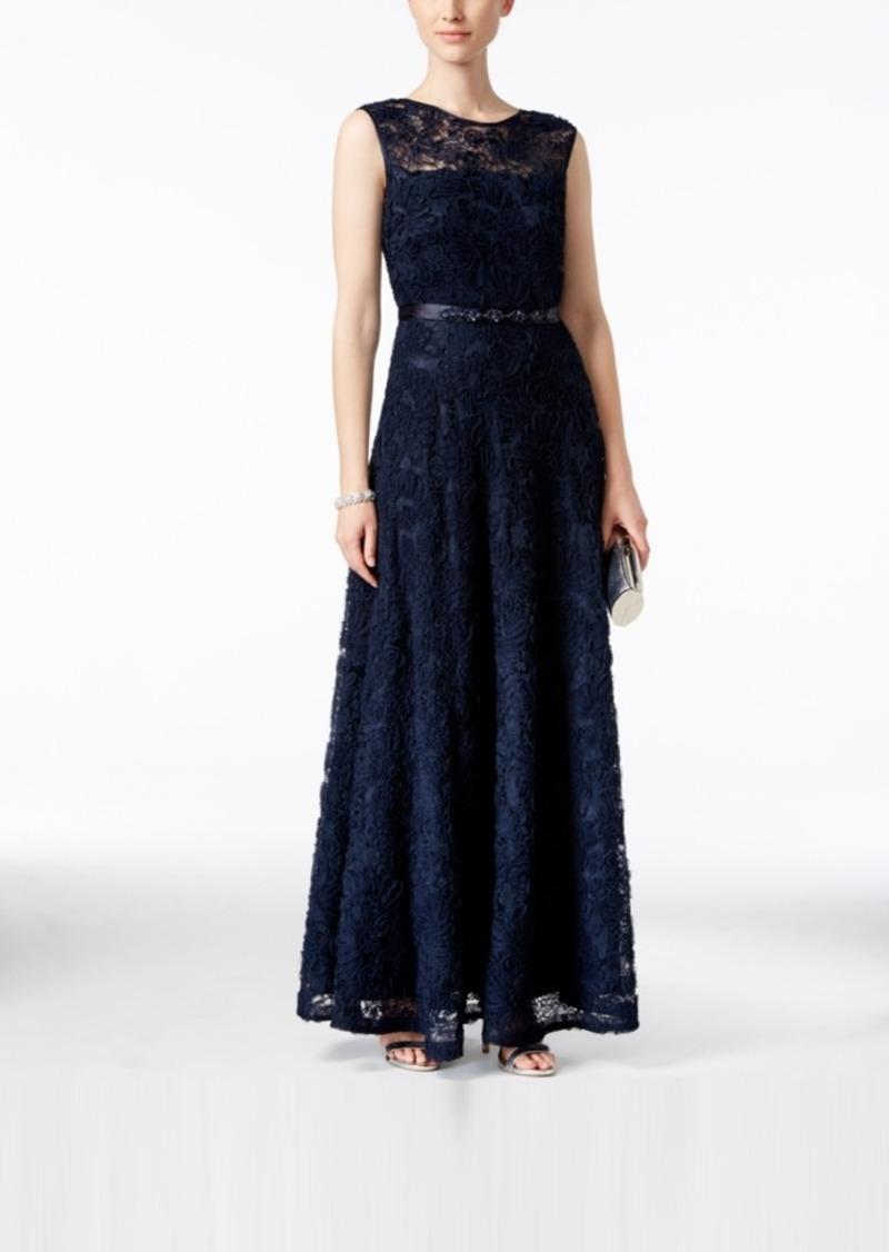 Tahari Tahari Asl Floral Soutache Belted Gown   Dresses