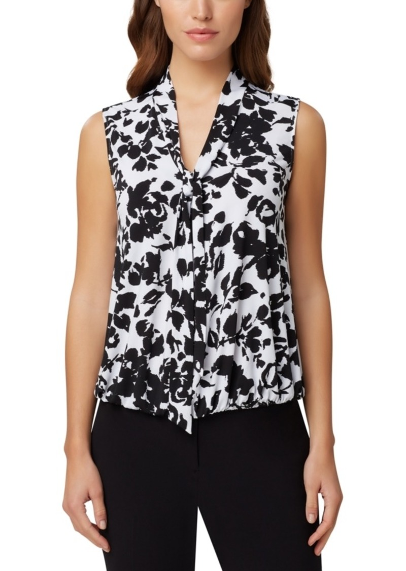 Tahari Asl Floral Tie-Neck Bubble Blouse