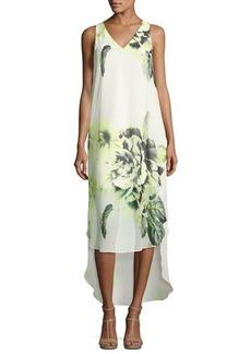 Tahari ASL Floral V-Neck High-Low Dress