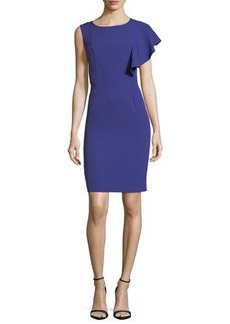 Tahari ASL Flutter-Sleeve Crepe Dress