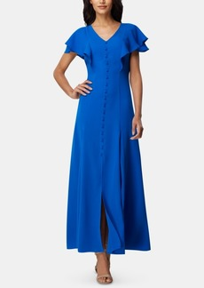Tahari Asl Flutter-Sleeve Georgette Maxi Dress