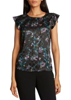 Tahari Asl Flutter-Sleeve Printed Top