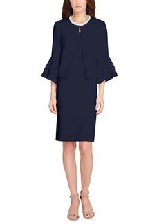 Tahari Asl Flyaway Faux-Pearl-Collar Dress Suit