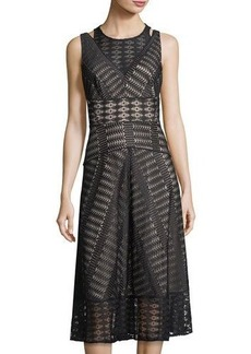 Tahari ASL Geometric-Lace A-Line Dress