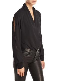 Tahari ASL Georgette Drape-Front Bodysuit