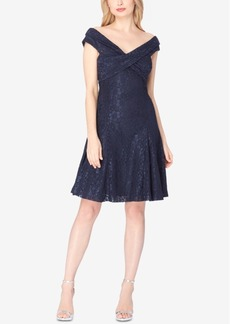 Tahari Asl Glitter Lace Off-The-Shoulder Fit & Flare Dress