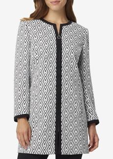 Tahari Asl Graphic-Jacquard Zip-Front Jacket