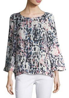 Tahari ASL Graphic-Print Bell-Sleeve Blouse
