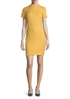 Tahari ASL High-Neck Short-Sleeve Woven Sheath Dress