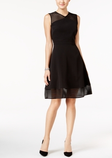 Tahari Asl Illusion Fit & Flare Dress
