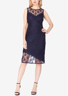 Tahari Asl Illusion Lace Asymmetrical Sheath Dress