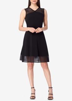 Tahari Asl Illusion-Striped Fit & Flare Dress
