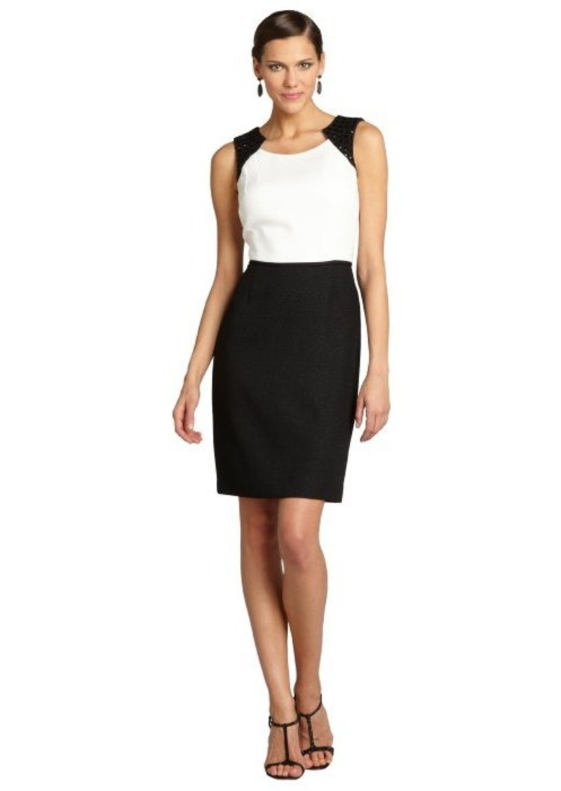 Tahari ASL ivory and black sleeveless colorblock dress