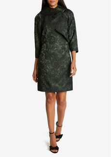 Tahari Asl Jacquard 3/4-Sleeve Wrap Jacket Dress Suit