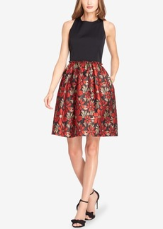 Tahari Asl Jacquard Fit & Flare Dress