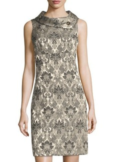Tahari ASL Jacquard Folded-Collar Dress