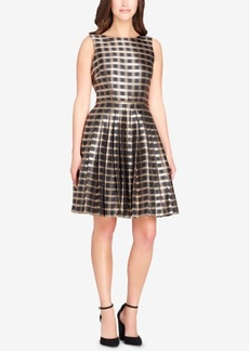 Tahari Asl Jacquard Plaid Fit & Flare Dress