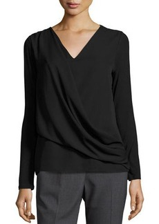 Tahari ASL Jersey Chiffon-Overlay Long-Sleeve Top