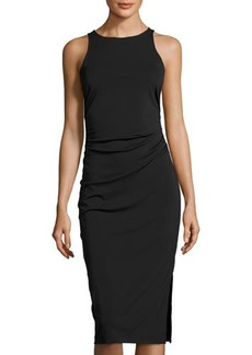 Tahari ASL Jersey Side-Ruched Midi Dress