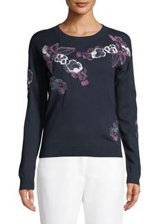 Tahari ASL Josie Floral Embroidered Sweater