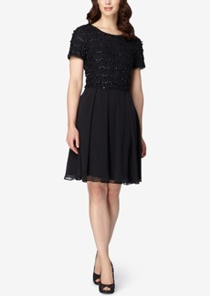 Tahari Asl Lace Beaded Chiffon Dress