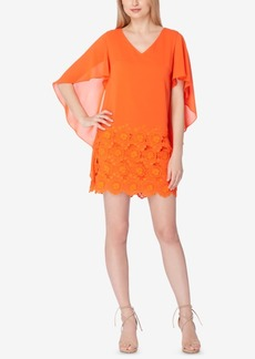 Tahari Asl Lace-Border Chiffon Capelet Dress