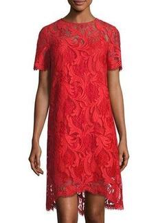 Tahari ASL Lace Corded Short-Sleeve Dress
