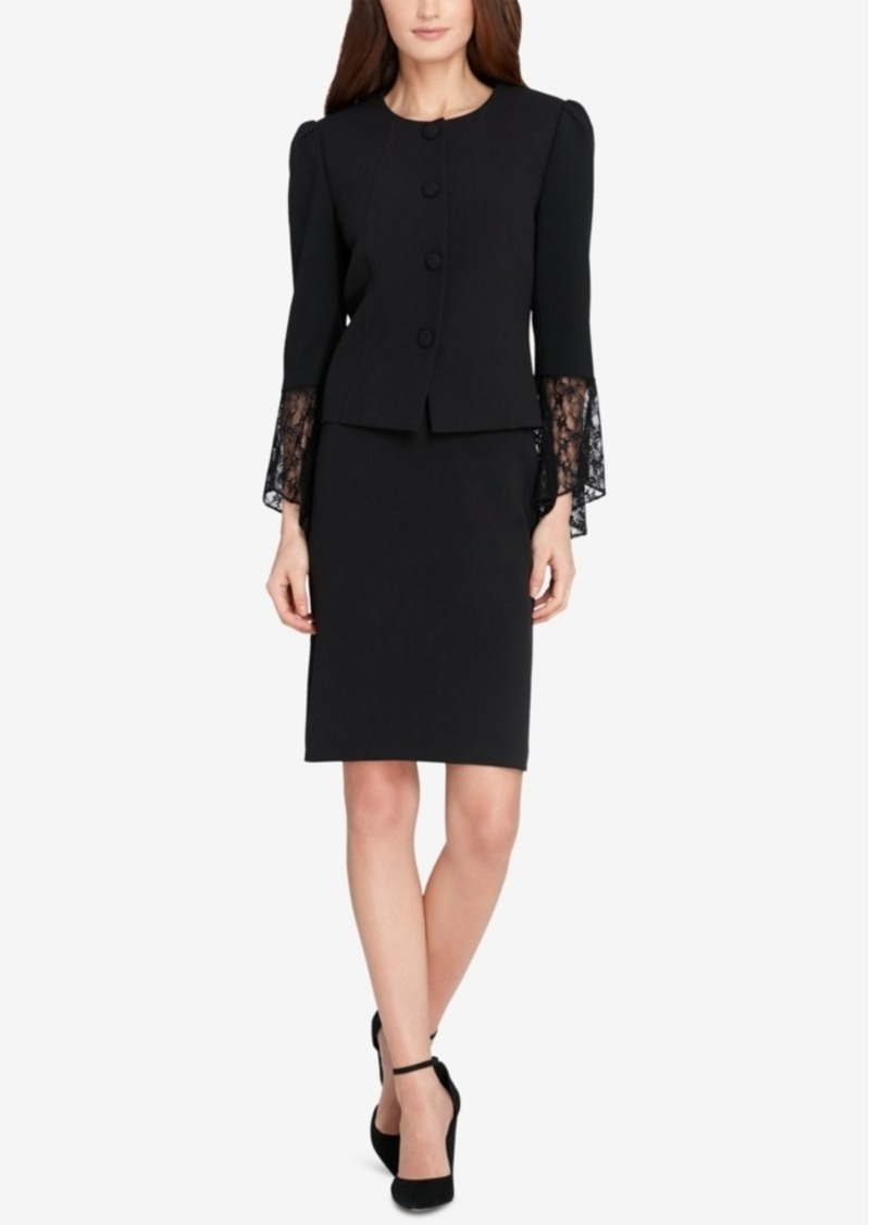 Tahari Asl Lace-Cuff Skirt Suit
