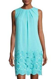Tahari ASL Lace-Hem Chiffon Dress