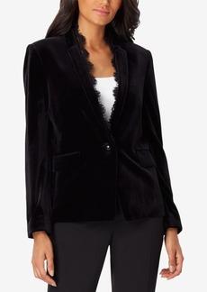 Tahari Asl Lace-Inset Velvet Blazer