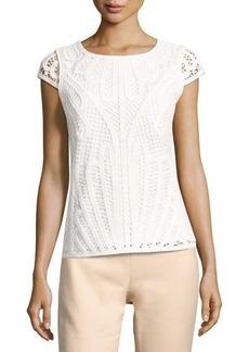 Tahari ASL Lace-Knit Short-Sleeve Blouse