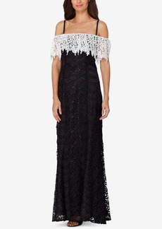 Tahari Asl Lace Off-The-Shoulder Gown