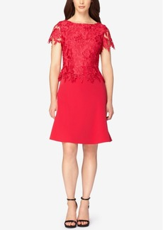 Tahari Asl Lace Peplum A-Line Dress