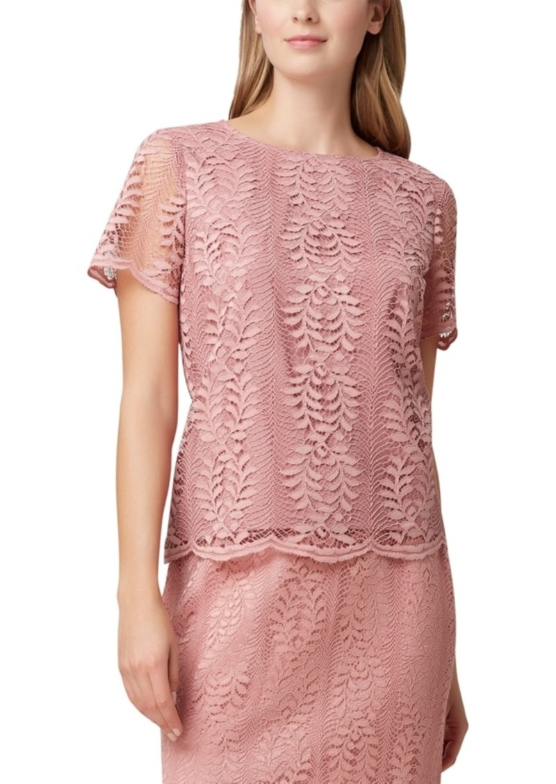 Tahari Asl Lace Short-Sleeve Top