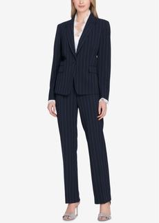 Tahari Asl Lace-Trim Pinstriped Pantsuit, Regular & Petite