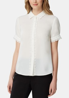 Tahari Asl Lace-Trim Short-Sleeve Blouse