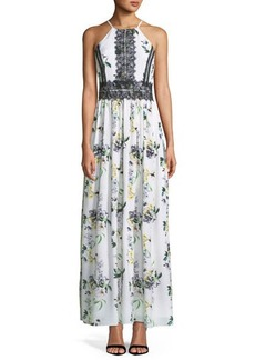 Tahari ASL Lace-Trimmed Floral-Print Maxi Dress