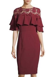 Tahari ASL Lace-Yoke Ruffled Crepe Dress