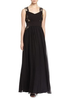 Elie Tahari Leandra Chiffon Gown with Lace Insets