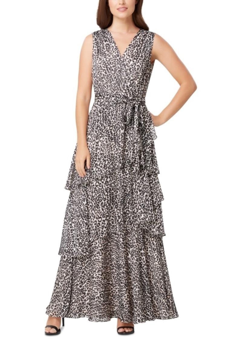 Tahari Asl Leopard-Print Chiffon Maxi Dress