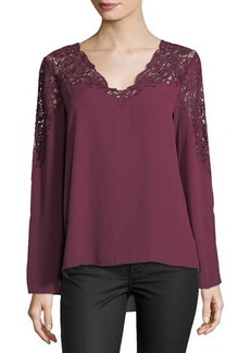 Tahari ASL Lightweight Long-Sleeve Crepe Blouse with Lace Trim