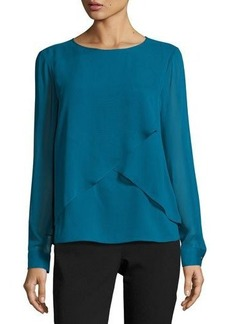 Tahari ASL Long-Sleeve Chiffon-Overlay Top